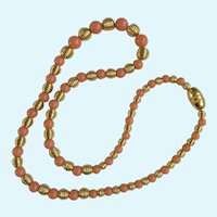 Faux Coral and Gold-Tone Beaded Necklace 24""