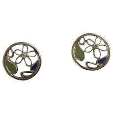 Purple Flower Earrings with Stud Posts for Pierced Ears