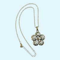 Silver-Tone Filigree Flower with Pink Rhinestone Chain Necklace