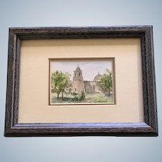 Sara Smith, Small Watercolor Painting of San Jose Mission in San Antonio Texas Signed by Artist