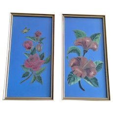 Pair of Red Hibiscus and Red Rose Flowers with Butterfly Painted on Blue Satin with Glitter