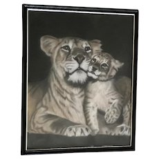 Roberta McMillin, Lions Lioness with Cub Pastel Painting Signed by Artist