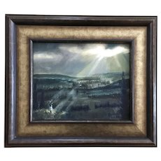Richard Lake, Man Worshiping God in the Wilderness Oil Painting Signed by Artist