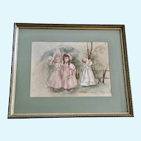 Little Victorian Girls Playing Hide and Go Seek Watercolor Painting