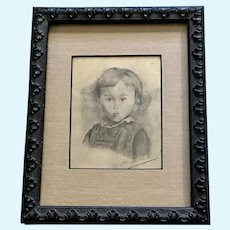 Vintage Portrait of a Young Girl Original Pencil Signed