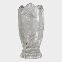 Rose Pressed Glass Crystal Vase with Fan Top Design Heavy