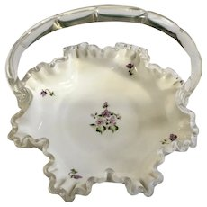 Violets Milk Glass Bon Bon Bridal Basket Hand Painted