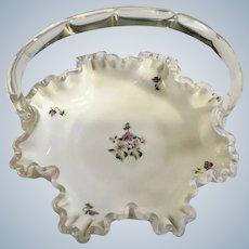 Violets Milk Glass Bon Bon Bridal Basket Hand Painted