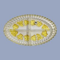 Original Walther Glass West Germany Divided Yellow Grape Dish
