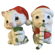 Christmas White Kitty Cat and Puppy Dog Figurines 1970's