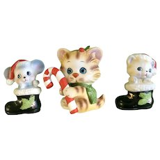 Vintage Christmas Cat and Mouse Figurines