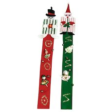 Vintage Christmas Tree Felt Ornaments Hand Made Santa Claus & Snowman