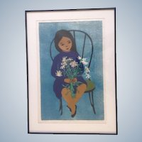 Rosalind Smith, Woodcut Etching Child with Daisies Limited Edition Woodblock Signed by Artist