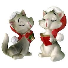 Vintage Lefton Christmas Caroling Singing Kitty Cat Figurines X-H6153