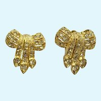 Faux Diamond Rhinestone Bows Gold-tone Clip-on Earrings