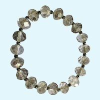 "Sparkle Glass Clear to Silver Beaded Stretch Bracelet 6-1/2""-7-1/2"""