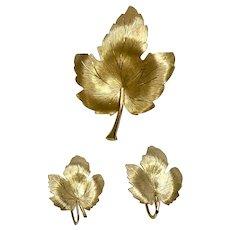 Krementz Gold-tone Leaf Pin & Matching Screw Back Earrings Set