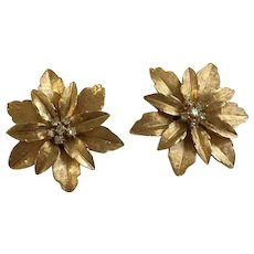 Christmas Clip-on Earrings Poinsettia Flowers 14K Gold  Diamond Clusters
