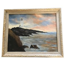 Helen Dunn, Lighthouse at Peggy's Point Nova Scotia Oil Painting Signed by Artist