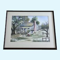 L Edwards, Primitive Folk Art Southern Watercolor Painting