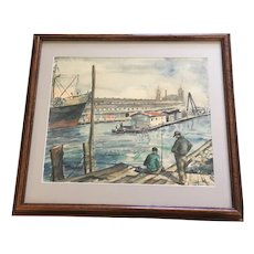 Audrey Hoffberg, Fishing in the Harbor Watercolor Painting Signed by Artist