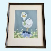 Children's Duck in Field of Daisies Pastel Painting Signed Suzi