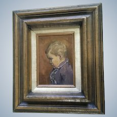 Portrait of Boy Oil Painting Monogrammed by Artist