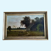 Bucolic Countryside Farm Antique Oil Painting Monogrammed by Artist