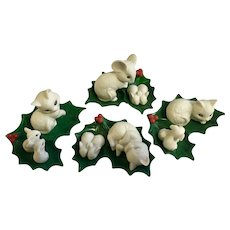 Christmas Enesco Cats Rabbits Mice Holly Leaf  Figurines