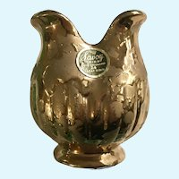 Savoy Vase 24K Gold Weeping Splatter Tulip Flower Shape