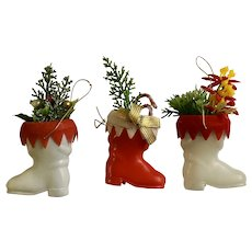 Mid-Century Christmas Santa Claus Boots with Greenery Plastic Ornaments