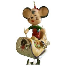 Mid-Century Christmas Wind Chime Mouse Skiing in Boot