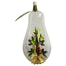 Pear Resl Lenz Gold Foil Glass Tree Christmas Bird Ornament W. Germany