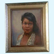 Polynesian Hawaiian Girl Portrait Figural Oil Painting
