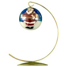 Reverse Glass Christmas Santa Claus Aurora Borealis Ornament with Stand Hand Painted
