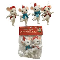 Commodore Animal Christmas Mice Decoration Ornaments Mid-Century Mouse