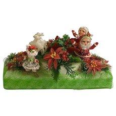 Mid-Century Christmas Styrofoam Santa Claus and Friends Display Centerpiece Homemade