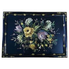 Vintage Floral Wood Serving Tray Hand Painted 23-3/4""