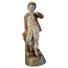 "German Boy Porcelain Figurine Hand Painted 1940's Unmarked Bisque Man 12"""
