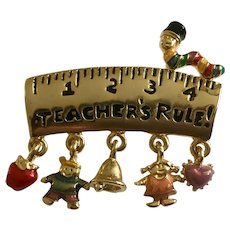 Teacher's Rule! Brooch Pin Ruler with Charms Danecraft