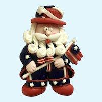 Patriotic Santa Claus  Christmas Brooch Pin Holding American Flag