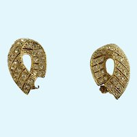 Gold-Tone Rhinestone Encrusted Earrings with Clip-on Style Clasps