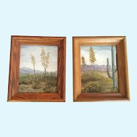 Mabel Ferguson, Yucca and Saguaro Cactus Landscape Pair Oil Paintings