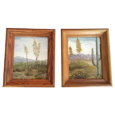 Mabel Ferguson, Yucca and Saguaro Cactus Landscape Pair Oil Paintings Signed by Artist