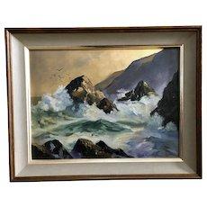 J Sheldrick, Waves Crashing on Rocky Shore Oil Painting Signed by Artist