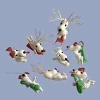 Mid-Century Beagle Snoopy Dog Plastic Christmas Ornaments