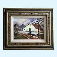 J Roll, Outbuilding Barn on Ranch Landscape Oil Painting 1969