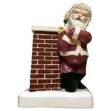 Mid-Century Christmas Santa Claus Bank with Chimney Ceramic Figurine