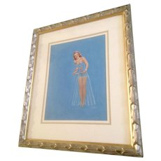 H. Sutton 1950's Pin Up Girl Tempera Painting Watercolor