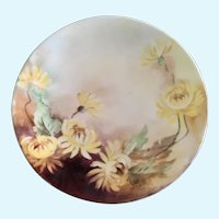 Dessert Plate Hand Painted Yellow Mums D & C France Delinieres Co.
